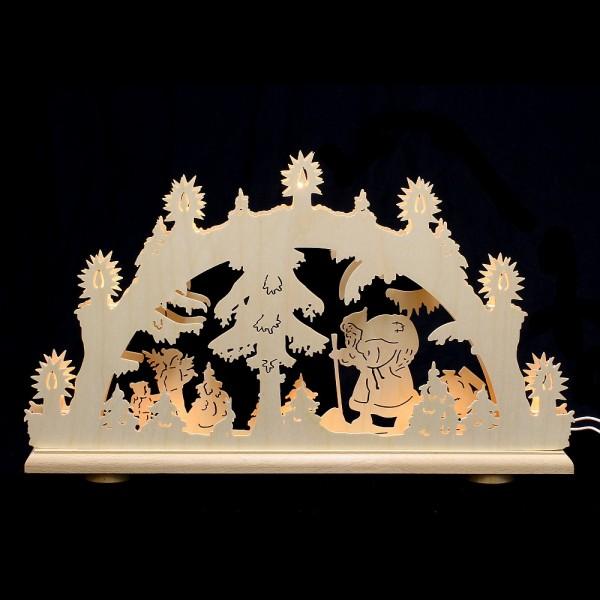 HELA Holzkunst - Schwibbogen Erzgebirge 10flammig - 2D Weihnachtsmann