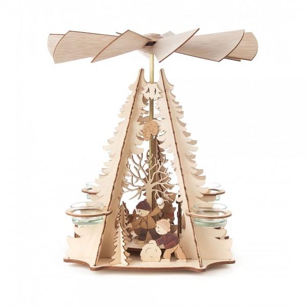 Dregeno Erzgebirge - Pyramide mit Kindermotiv, für Teelichter - 34cm