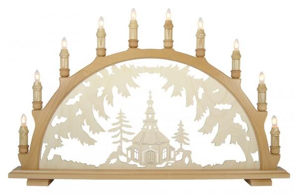 Lenk & Sohn Schwibbogen Erzgebirge 1-fach, 10-flammig Motiv Seiffener Kirche