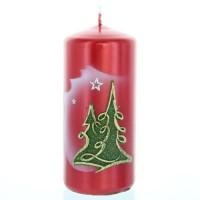 Weihnachtskerze Rot-metallic - Stumpen mit Tanne - 12cm