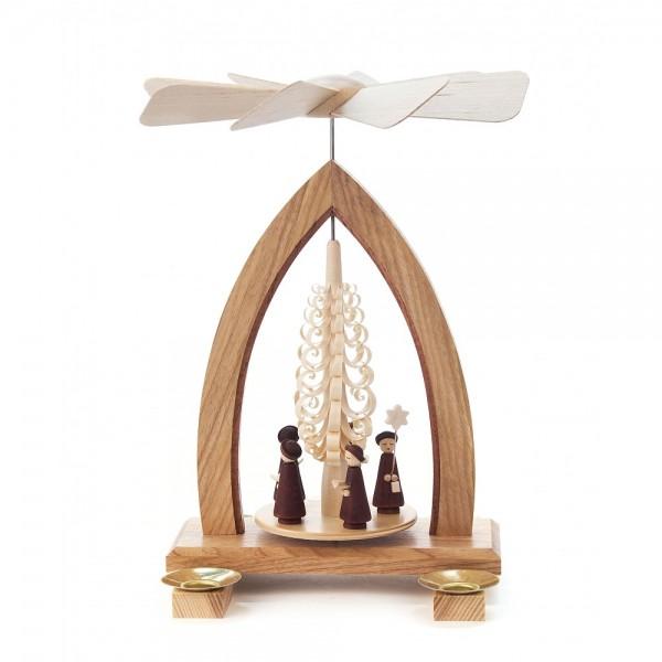 Dregeno Erzgebirge - Pyramide mit Spanbaum und Kurrende, für Kerzen - 25cm