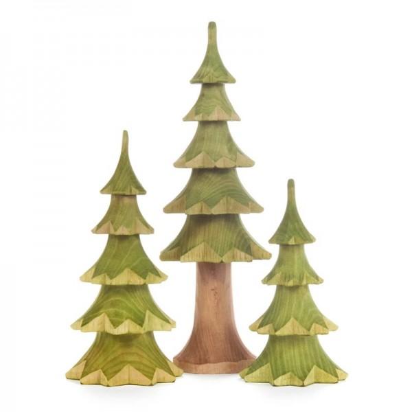 Dregeno Erzgebirge - Miniatur-Geschnitzte Bäume, grün, 3-teilig
