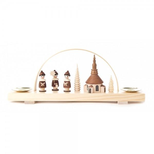 Dregeno Erzgebirge - Miniatur-Schwibbogen Kirche Seiffen und Kurrende natur