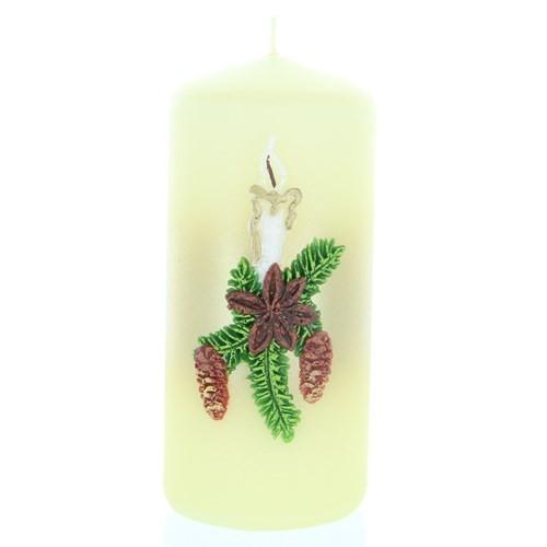 Weihnachtskerze Weiß - Stumpen mit Kerze - 12cm