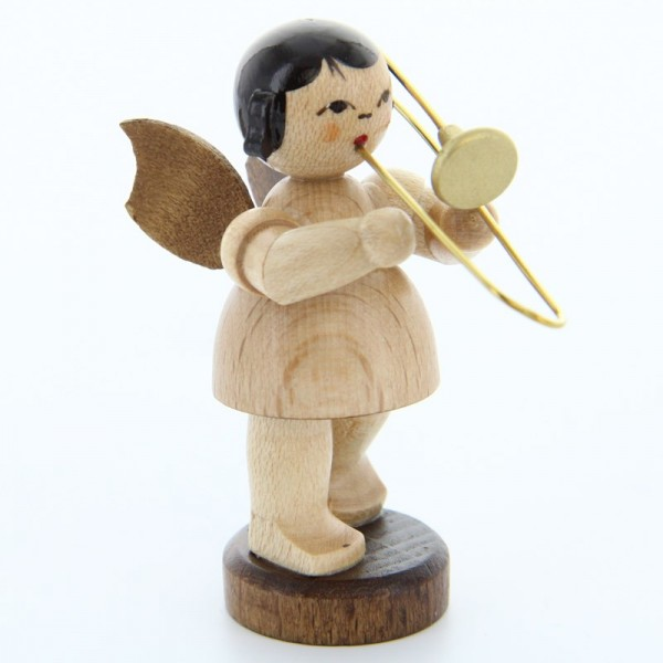 Uhlig Engel stehend mit Posaune, natur, handbemalt