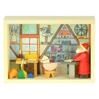 Graupner Holzminiaturen - Glückwunschkästel Weihnachtsmann-Werkstatt
