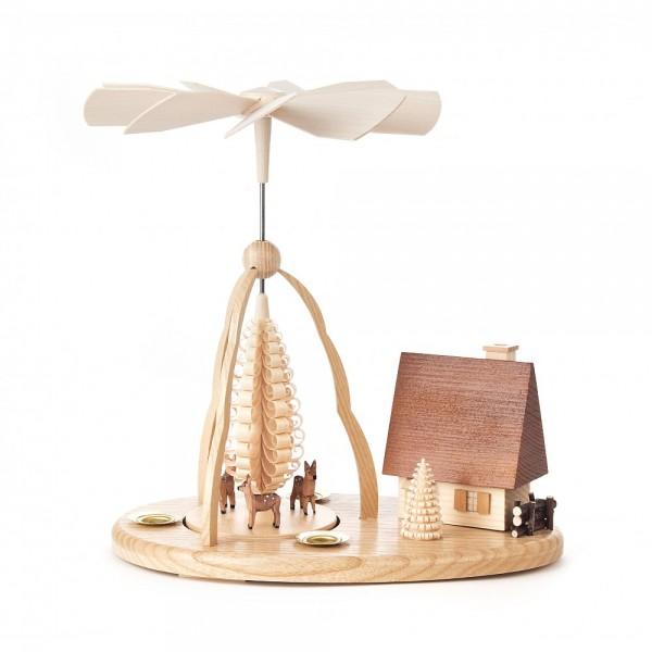 Dregeno Erzgebirge - Pyramide klein mit geschnitzte Rehe und Räucherhaus, für Kerzen - 25cm