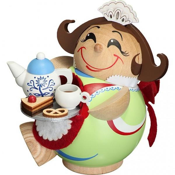 Seiffener Volkskunst Kugelräucherfigur Schokoladenmädchen