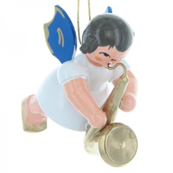 Uhlig Schwebeengel mit Saxophon, blaue Flügel, handbemalt