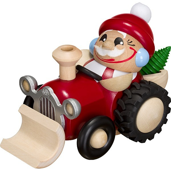 Seiffener Volkskunst Kugelräucherfigur Nikolaus im Traktor