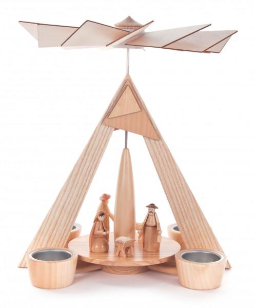 Dregeno Erzgebirge - Pyramide mit Christi Geburt natur, für Teelichte