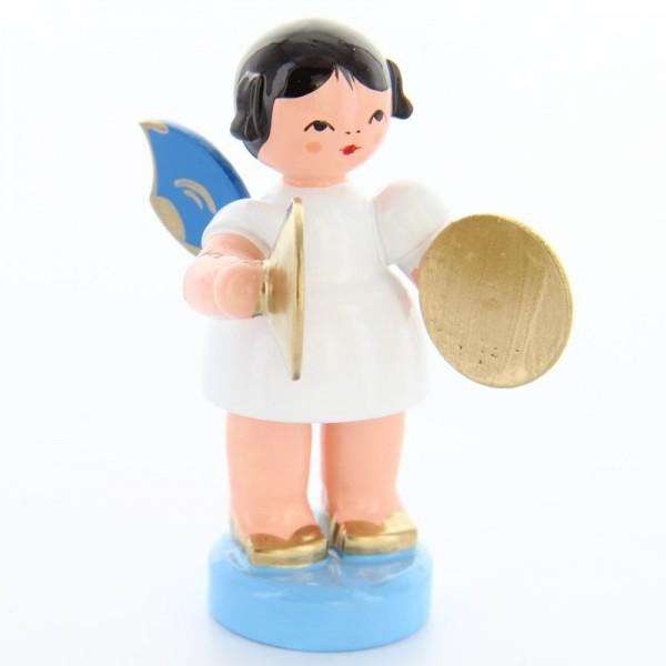 Uhlig Engel stehend mit Becken, blaue Flügel, handbemalt