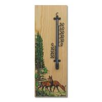 Wandthermometer aus Holz XL - Motiv Alttiere