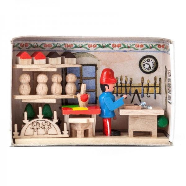 Dregeno Erzgebirge - Miniatur-Zündholzschachtel Spielzeugmacher