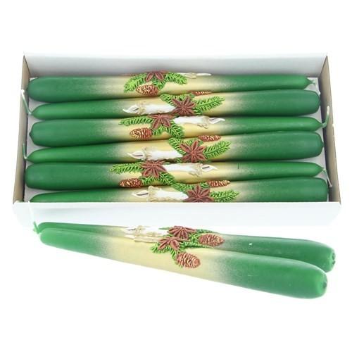 Weihnachtskerze Grün - Spitzkerzen-Set mit Kerze - 12-teilig