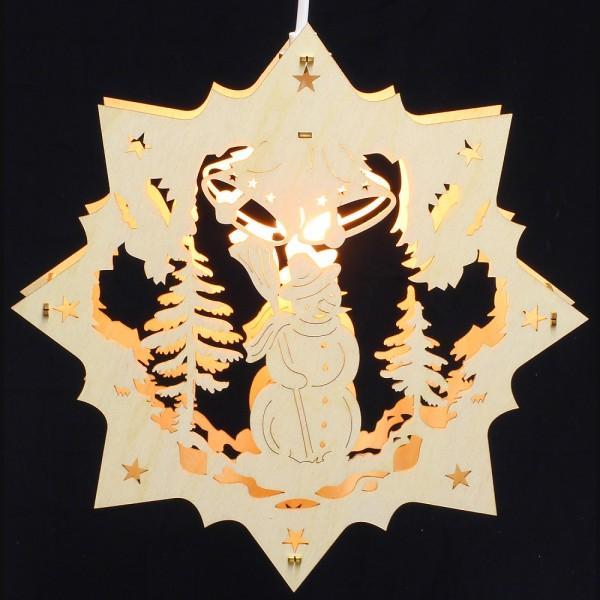 Fensterbild Erzgebirge beleuchtet - Motiv Schneemann - 27cm