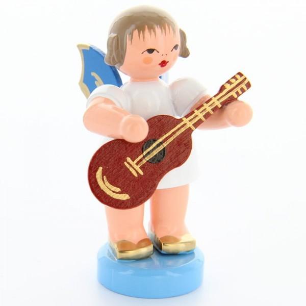 Uhlig Engel stehend mit Gitarre, blaue Flügel, handbemalt
