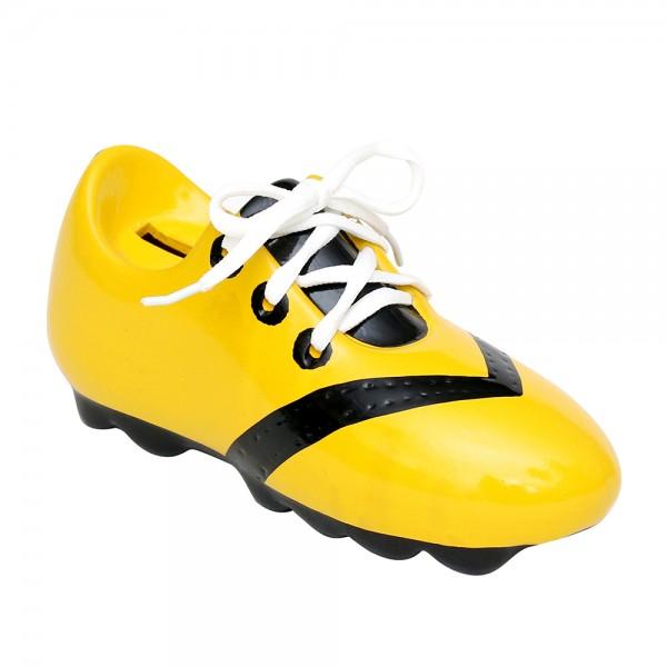 Restposten - Keramik Spar-Fußballschuh mit Schnürsenkel, gelb/schwarz 21 x 8 x 9,5 cm
