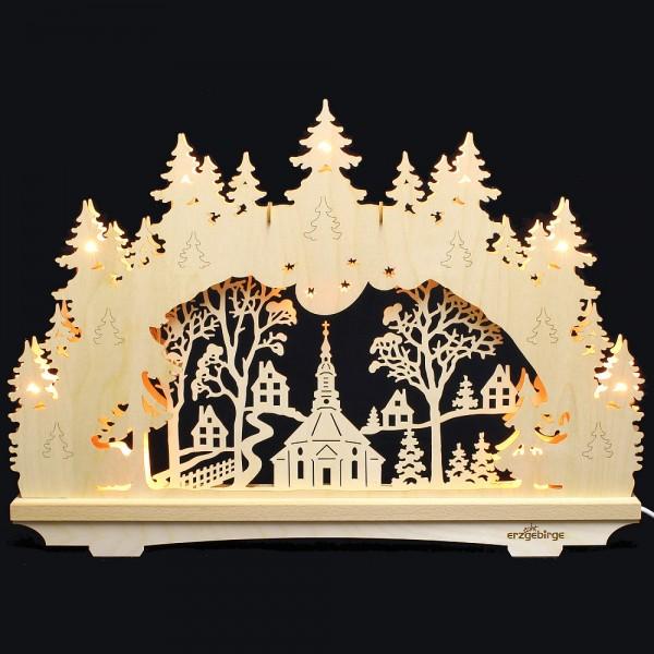 Lichterbogen aus Buchenholz, doppelt - Echt Erzgebirge - Motiv Seiffener Kirche