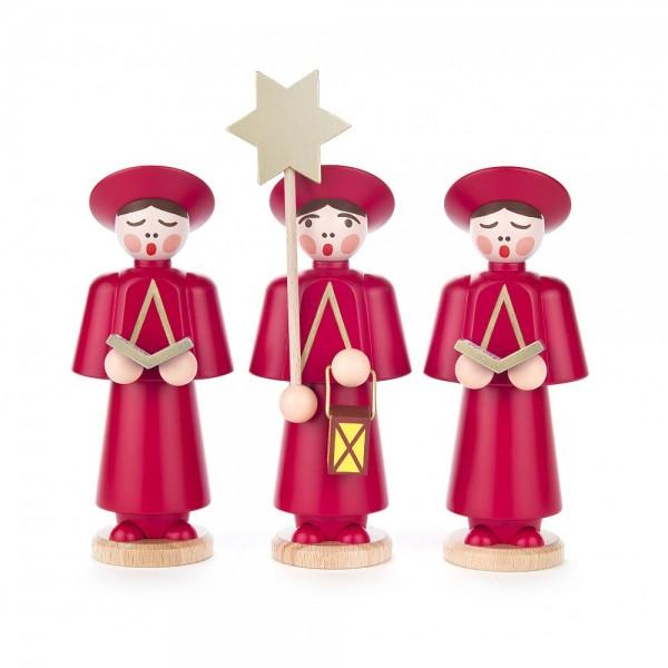 Dregeno Erzgebirge - 3 Kurrendefiguren mittelgroß, rot