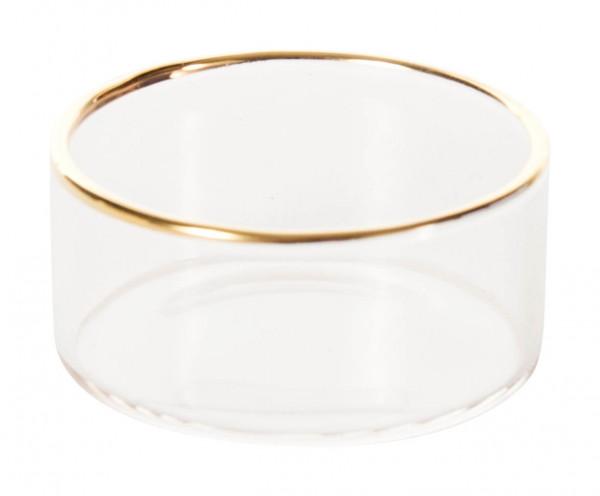 Dregeno Erzgebirge - Teelichthalter Glas mit Goldrand