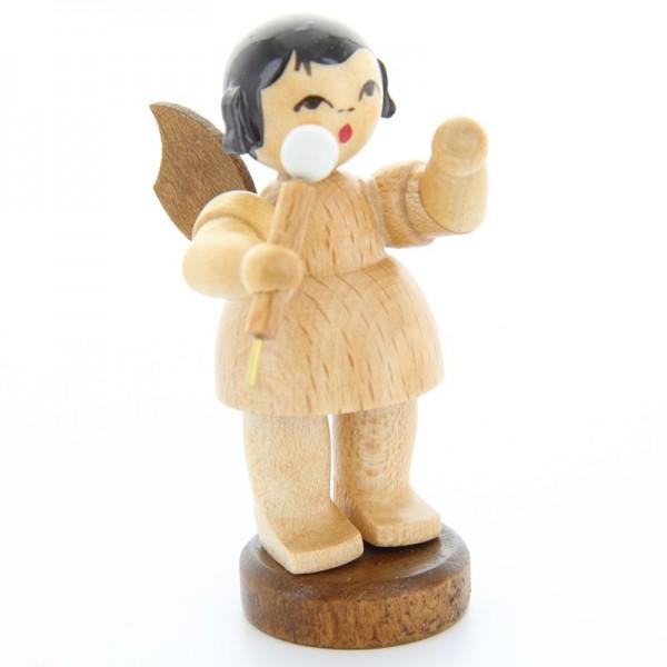 Uhlig Engel stehend mit Mikrofon, natur, handbemalt