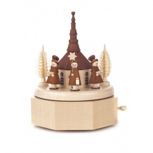 Dregeno Erzgebirge - Spieldose mit Seiffener Kirche und Kurrende natur, 18-stimmiges Spielwerk