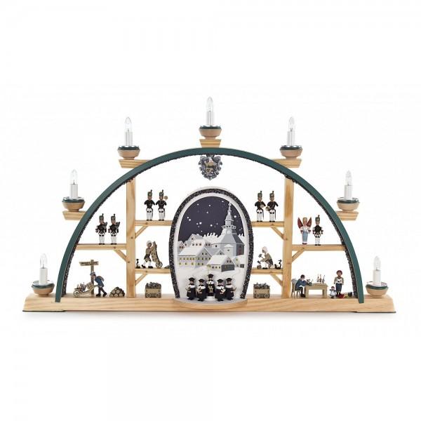 Dregeno Erzgebirge - Kolbe Schwibbogen mit Seiffener Kirche und Kurrende