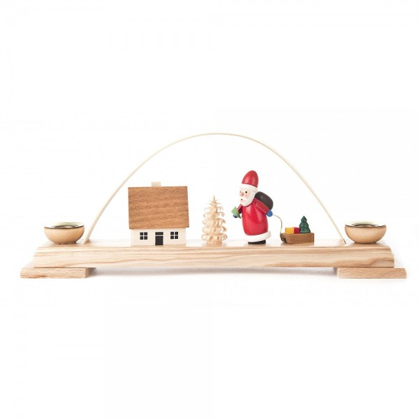 Dregeno Erzgebirge - Miniatur-Schwibbogen mit Ruprecht und Haus - 10cm