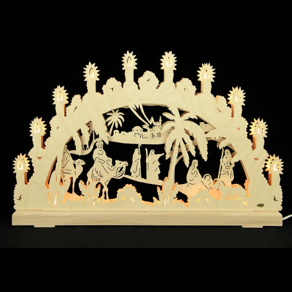 HELA Holzkunst - 3D Schwibbogen Erzgebirge 16flammig indirekt beleuchtet - Christi Geburt