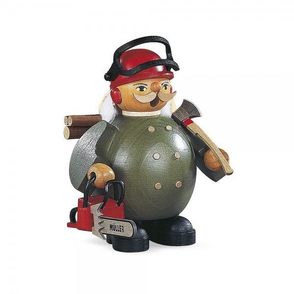Müller Räuchermann klein Waldarbeiter mit Motorsäge 14cm