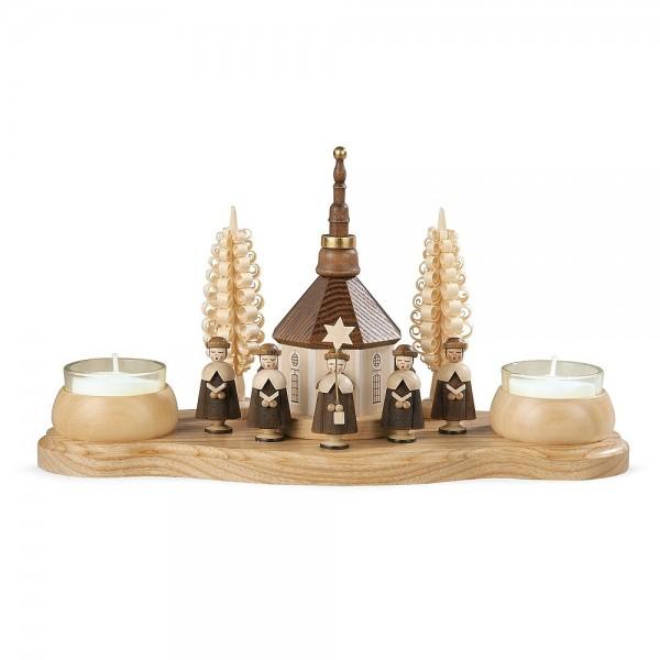 Müller Kerzenhalter Seiffener Kirche und Kurrende natur Teelichte