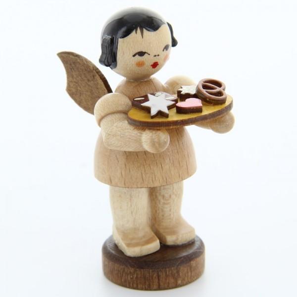 Uhlig Engel stehend mit Lebkuchenblech, natur, handbemalt