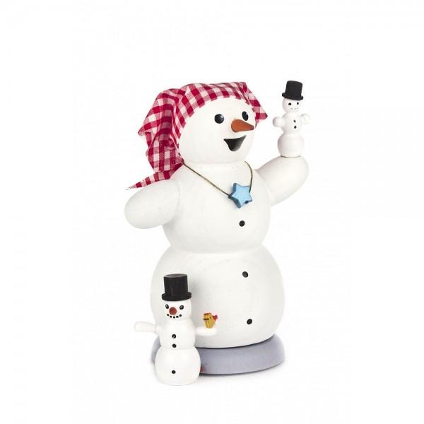 Dregeno Erzgebirge - Räucherfigur Schneefrau mit Kindern - 12cm
