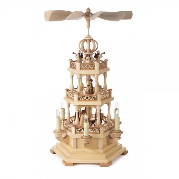 Dregeno Erzgebirge - Pyramide 3-stöckig mit Christi Geburt, elektrisch - 49cm