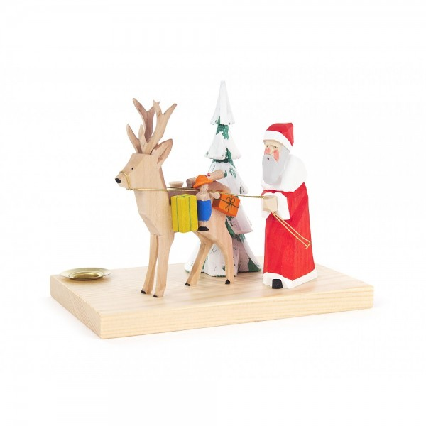 Dregeno Erzgebirge - Schnitzerei mit Lichtertülle - Weihnachtsmann mit Hirsch - 12cm