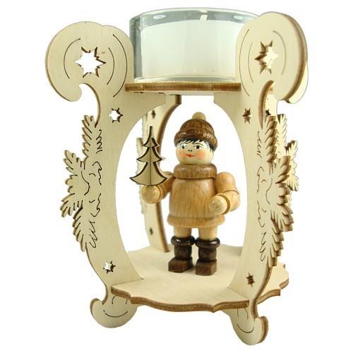 Lenk & Sohn Teelichtständer Erzgebirge Weihnachtskinder Junge mit Baum