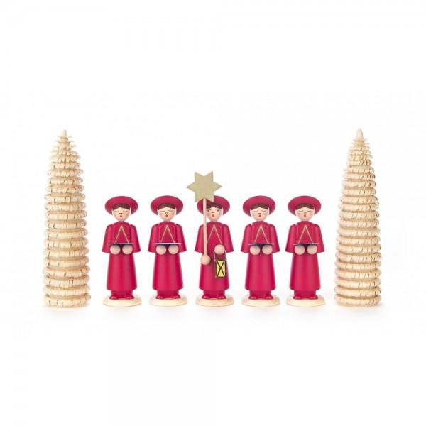 Dregeno Erzgebirge - Kurrendefiguren mit Ringelbäumchen, 7er-Gruppe, rot - 12cm