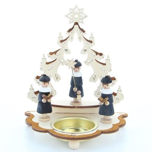 HELA Holzkunst - Teelichthalter - Baum mit 3 Kurrendesängern