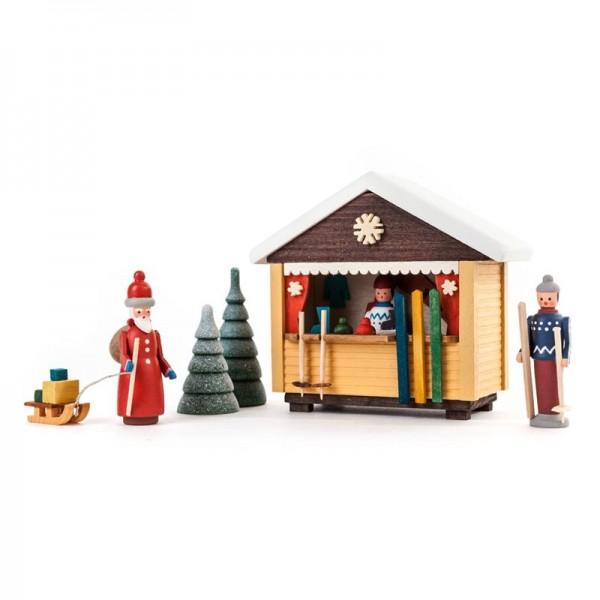 Dregeno Erzgebirge - Miniatur-Skibude mit 3 Figuren und 2 Bäumchen