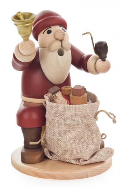 Dregeno Erzgebirge - Räuchermann Weihnachsmann sitzend mit Glocke und Geschenkesack