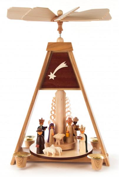 Dregeno Erzgebirge - Pyramide mit Christi Geburt, farbige Figuren, für Kerzen Ø 14mm