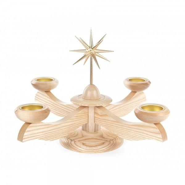 Dregeno Erzgebirge - Adventsleuchter mit Stern, ohne Bestückung, für Teelichter, natur - 25cm