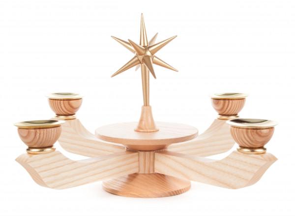 Dregeno Erzgebirge - * Adventsleuchter mit Stern natur groß, für Kerzen Ø 20mm