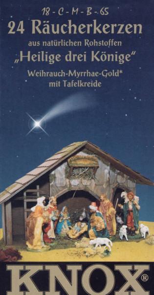 Dregeno Erzgebirge - KNOX Räucherkerzen »Heilige drei Könige« (Weihrauch-Myrrhe) (24), inkl. Glimmschale und Kreide