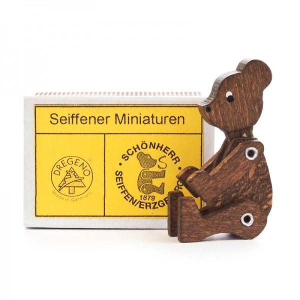 Dregeno Erzgebirge - Miniatur-Zündholzschachtel mit Bär, braun, beweglich
