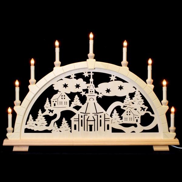 Holzkunst Niederle - Schwibbogen 9-flammig - Seiffener Motiv