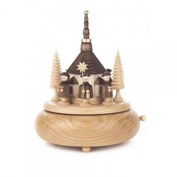 Dregeno Erzgebirge - Spieldose mit Seiffener Kirche und Kurrende, 18-stimmiges Spielwerk