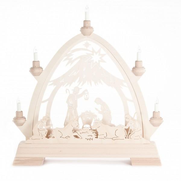 Dregeno Erzgebirge - Gotischer Bogen mit Christi Geburt Stall modern - elektrisch beleuchtet