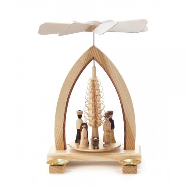 Dregeno Erzgebirge - Pyramide mit Spanbaum und Christi Geburt, für Kerzen - 25cm